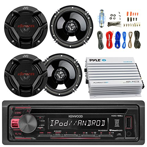 Kenwood Single DIN Car CD Player Receiver USB AUX Radio - Bundle Combo with 4X 6.5 Inch 300-Watt 2-Way Black Car Audio Coaxial Speakers + Pyle 4-Channel Bluetooth Amplifier + Amp Kit
