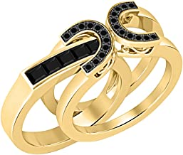 Two-Tone 1.00 ct tw Round & Princess Cut Created Black Diamond 14K Yellow Gold Plated Interchangeable Wedding Ring Set