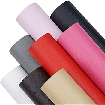8 Pieces A4 Size 8x6 Inch Solid Color Litchi Grain Texture Faux Leather Fabric Sheets Cotton Back for Hair Bows Making, Hair Clips Making, Headband Making (8 Color, Each Color one Sheet)