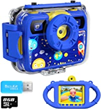 Ourlife Kids Camera, Selfie Kids Waterproof Digital Cameras for Kids 1080P 8MP 2.4 Inch..