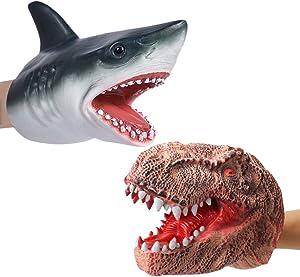 Odowalker Hand Puppet Dinosaur and Shark Hand Puppet Toys Battle Dinosaur Head Glove Rubber Shark Hand Puppets for Kids(2 PCS)