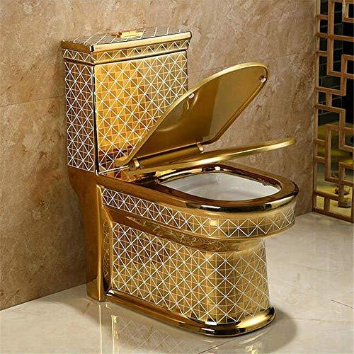 Perfect Nieuw design Artistieke Golden Diamonds Style One Piece Closestool sifon Fluishing S-Trap Floor Mounted Luxious Villa Bathroom Seat Toilet voor de badkamer