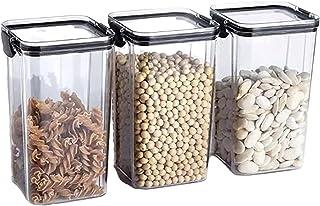 3pcs réservoirs de torage empilables Cuisine en plastique scellé Scellé Scellé Storage Restauration Stockage Clear Scellé ...