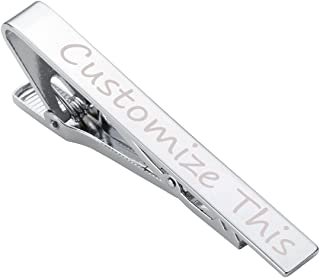 Jovivi Free Engraving - Personalized Custom Stainless Steel Mens Mirror Tie Bar Clip