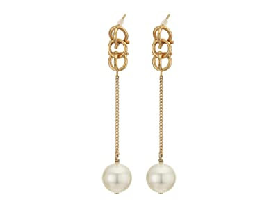 Salvatore Ferragamo Gancio 3-D Long Earrings (Oro/Pearl) Earring