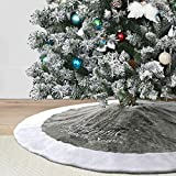 Dremisland 36' Luxury Faux Fur Christmas Tree Skirt with Snowflake Double Layers Soft Tree Skirt Xmas Holiday Party Decoration - Grey