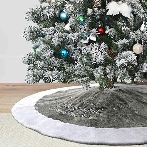 Dremisland 90cm Weihnachtsbaum Röcke Plüsch Weihnachtsbaum Rock Grau Weiß Kunstpelz Weihnachtsbaumdecke Fell Christbaumständer Teppich für Weihnachtsfeiertagsfeier Dekoration