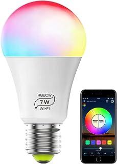 Bombilla Led, GLURIZ Bombilla Inteligente Wifi E27, 7W Bombilla Alexa 16 Millones de Colores se Pueden Ajustar, RGBCW LED ...