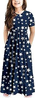 فستان كاجوال طويل الأكمام من متجر أوفبيبي للفتيات من فساتين بجيوب العطلات لمدة 5-13 عامًا