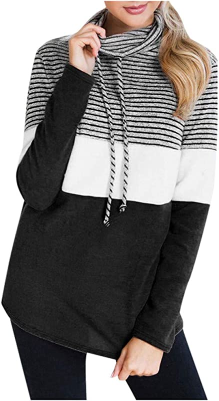 Onegirl Women Long Sleeve High Collar Casual Striped Stitching Drawstring Sweatshirt Tunic Tops Blouse Pullover