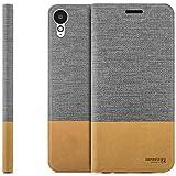zanasta Designs Tasche HTC Desire 825 Hülle Flip Case Slim Schutzhülle Handytasche mit Kartenfach, Standfunktion | Grau
