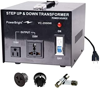 PowerBright Step Up & Down Transformer, Power ON/Off Switch, Can be Used in 110 Volt Countries and 220 Volt Countries, Con...