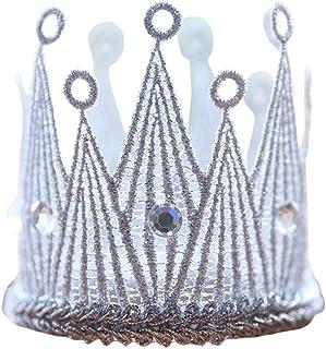 Generic Infant Newborn Princess Mini Glitter Lace Crown Headband Baby Hair Accessories Silver