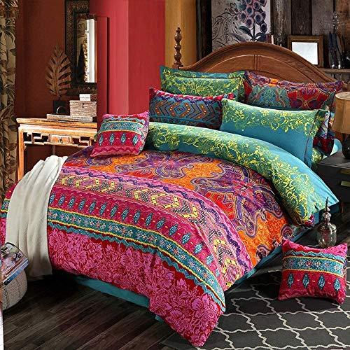 Loussiesd Bohemian Bettwäsche Set mit Reißverschluss Indischen Ethnischen Stil Mandala Blumen Damen Bettbezug Boho Exotic Microfaser Betten Set mit Kissenbezug 155x220 cm + 80x80 cm