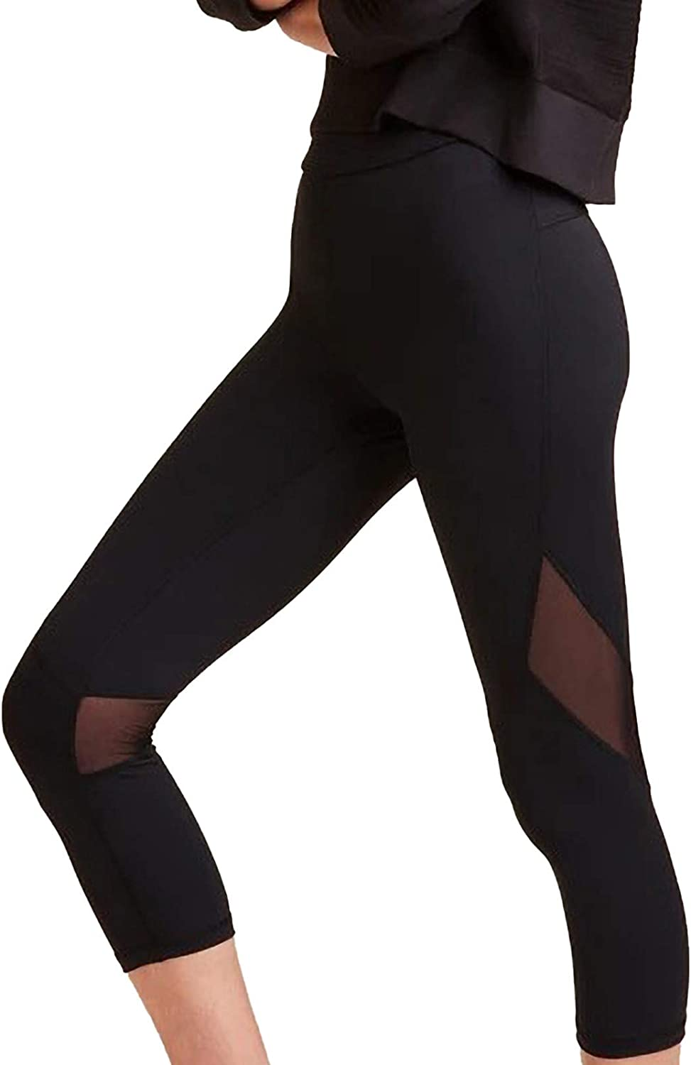 Fankle High Waisted Yoga Pants Tummy Control Workout Running 4 Way Stretch Yoga Leggings Women Mesh Capris Pants