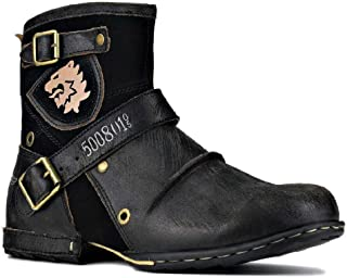 TAOBEGJ Bottes De Motard en Cuir, Bottes Courtes De Style Cowboy Occidental Bout Rond Grande Taille Vintage Knight Bottine...