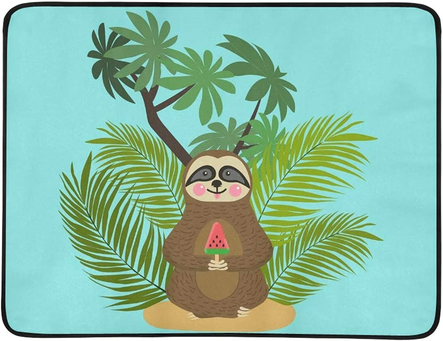 Baby Sloth Eating Watermelon Ice Portable and Blanket Mat 60x78 Inch