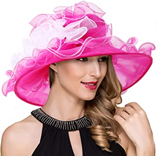 Women Derby Church Dress Wide Brim Ruffles Tea Party Organza Hats S042b