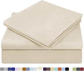 HOMEIDEAS 4 Piece Bed Sheets Set Extra Soft Brushed Microfiber 1800 Bedding Sheets - Deep Pocket, Wrinkle & Fade Free(Queen,Beige=Cream)