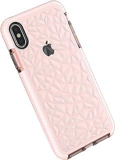 Funda Compatible con iPhone X/XS/XS MAX, Carcasa Silicona Transparente Protector TPU Airbag Anti-Choque Ultra-Delgado Anti-arañazos Case 3D Modelo Geométrico de Diamante Funda para Teléfono