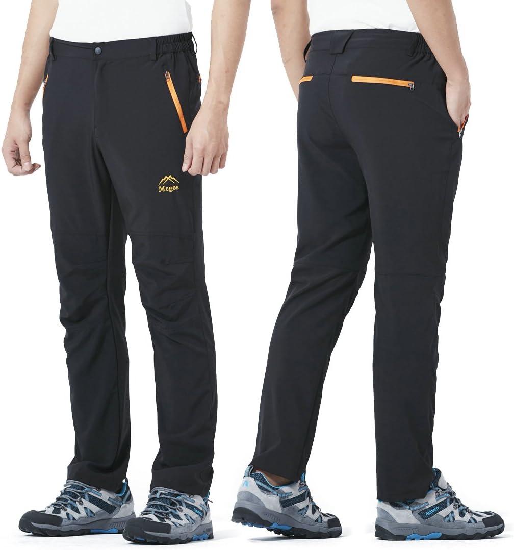 LUI SUI Pantalon de randonn/ée Softshell /élastique /à s/échage Rapide pour Hommes en Plein air Escalade de Montagne Trekking Course Marche Pantalon dathl/étisme