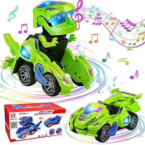 Dinosaurier Transformers Auto, GUBOM Transforming Dinos Car, Transforming Dinosaur Car mit LED Licht und Musik, Transformers Spielzeug Dinosaurier Geschenke für Kinder 3-10 Jahre (Grün)