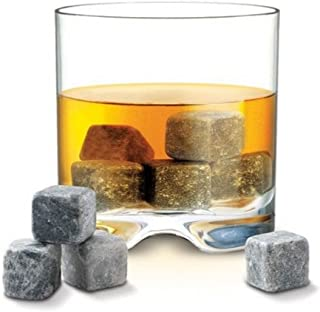 Lily's Home Set of 9 Grey Beverage Chilling Stones, Whiskey Stones for Whisky, Bourbon and other Beverages Including a Han...