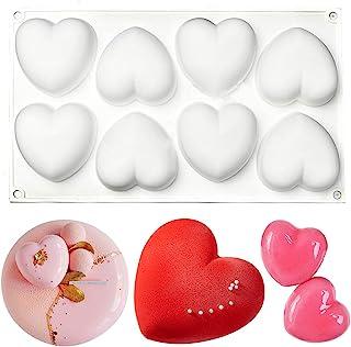 قالب های سیلیکونی سه بعدی برای شکلات ، قالب کیک موس 8 حفره 3D شکل قلب قلب شکلات دسر سیلیکون قالب های شیرینی شکلاتی ، کیک مینی باندت ، دسر ، شیرینی ، ژله براونی فوندانت