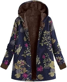 Womens Fleece Lined Jackets Parka Boho Flowers Floral Print Hooded Vintage Loose Warm Coat Plus Size XXXL