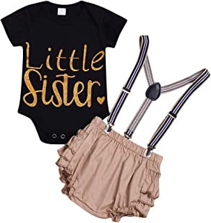 pollyhb Baby Outfits Baby Simple Fashion Short Sleeve Letters Printed Romper and Bib Pants Set Black