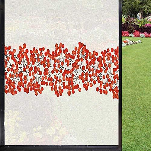 Rowan - Lámina decorativa para ventana (60 x 90 cm), color naranja y perla