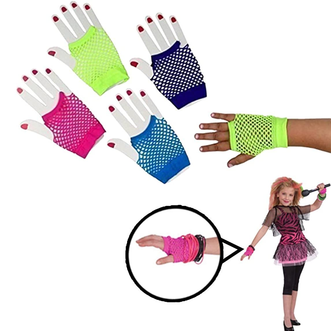 Gloves | Fishnet Fingerless Wrist Gloves| 6 Pack | 6 Assorted Colors | Kids and Adults | Dazzling Toys kkhll17888203570