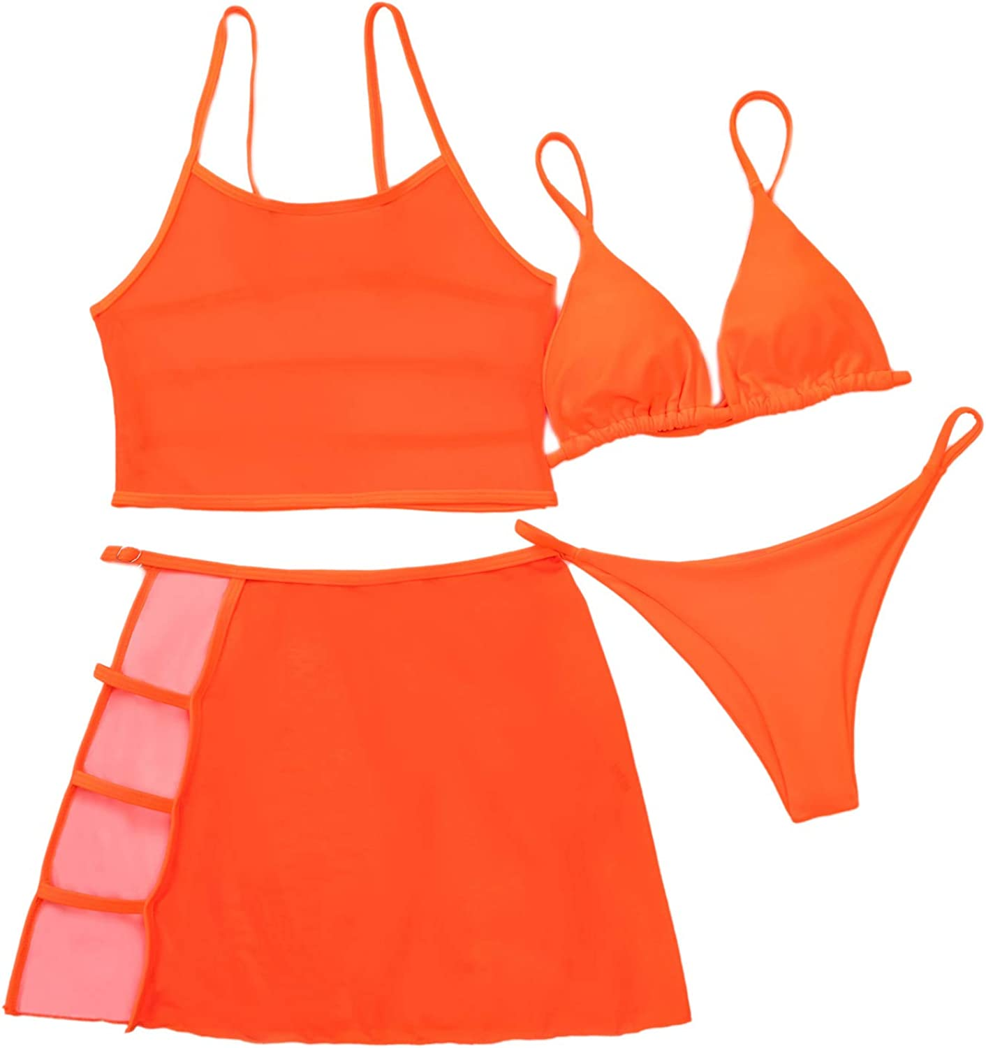 SOLY HUX Women's Triangle Bikini Bathing Suits with Cut Out Mesh Skirt 4 Piece Swimsuits