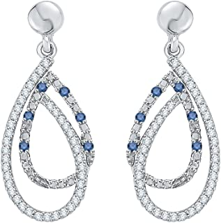 Blue and White Diamond Fashion Earrings in Gold or Sterling Silver (3/8 cttw) (Color GH, Clarity-I2-I3)