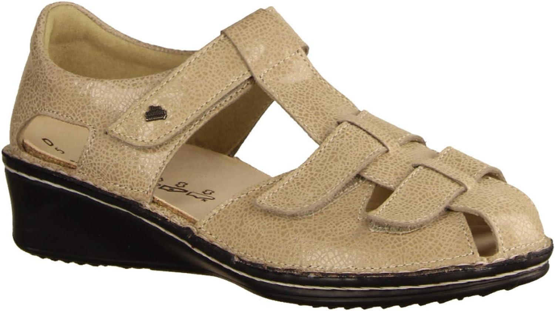 Finn Comfort Fünen Ecru, Beige - Sandale mit Loser Einlage- Damenschuhe Sandale bequem lose Einlage, Beige, Leder (Crash)  | Qualitätsprodukte