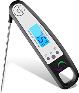 Sol-Chef Digital Instant Read Food Grilling Thermal Lance thermometer with Waterproof Heat Resistant Case Folding Probe & Backlit led for BBQ grill, Cooking meat, Baking, Liquids, and Oil Frying.