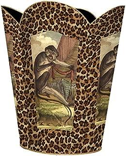 WB25-Monkey and Leopard Print Wastepaper Basket