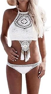 Women's Swimsuit, Bohemian Knitted Two Pieces Bikini Set Halter Swimsuit Swimwear Fringed Beachwear