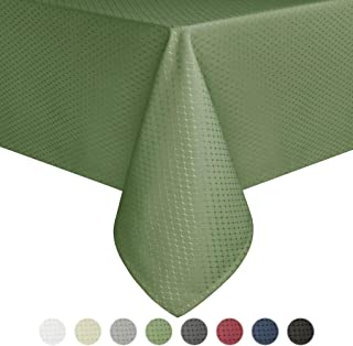 Eforcurtain Comtemporary Rectangular Table Cover Waterproof Fabric Waffle Weave Tablecloth, Light Sage Green, 60 By 84-inch