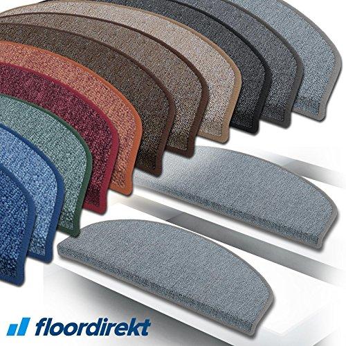 """Floordirekt 15 Stück Preiswerte Stufenmatten """"London"""" halbrund und rechteckig in 11 Farben (halbrund, weinrot, klein)"""