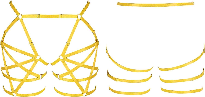 Women's Body Harness Leg Strap Pentagram Garter Exotic Lingerie Punk Waist Belt Stretchy Fabric Festival Rave