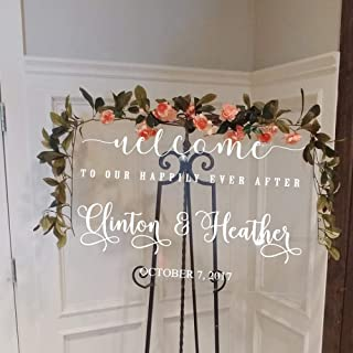 Wedding Welcome Signs Decal Welcome to Our Happily Ever After Vinyl Mirrors Wooden Board Decor Art Custom Name