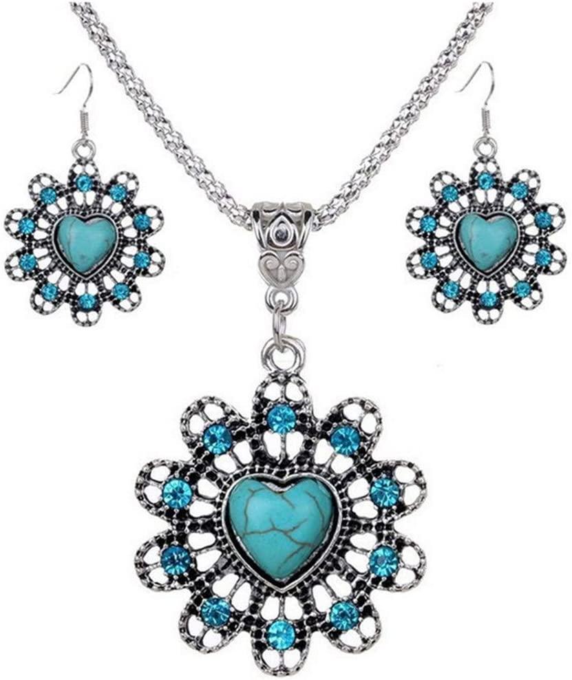 WEILYDF 3 Pieces Wedding Jewelry Set Retro Style Flower Shape with Faux Turquoise Heart Inolaid Necklace Earrings Jewelry Gift