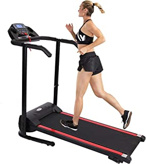 QWENB 1100w Electric Folding Treadmills for Home with Large LCD Monitor,Device Holder, Shock Absorption and Incline