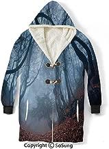 Farm House Decor Blanket Sweatshirt,Dim Gloomy Crimea Forest with Swirling Bushes Myst Spooky Wild Woodland Photo Wearable Sherpa Hoodie,Warm,Soft,Cozy,XXL,for Adults Men Women Teens Friends,Orange W