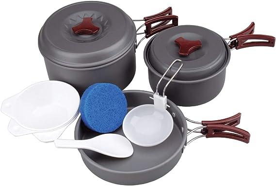 AceCamp Batería de cocina para camping (aluminio, ultraligera, incluye cubiertos plegables y vajilla de melamina de 7, 9 y 15 piezas)