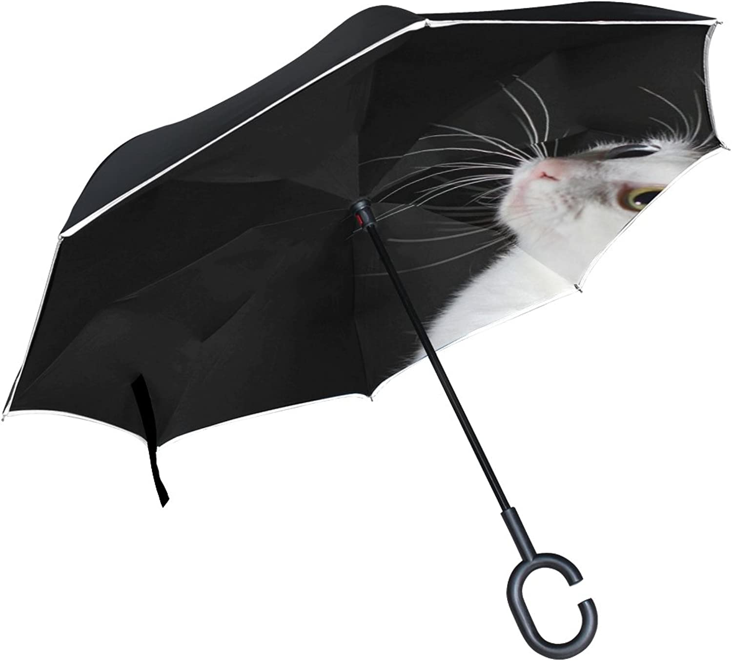 Double Layer Ingreened Cat Black White Different colord Eyes Umbrellas Reverse Folding Umbrella Windproof Uv Predection Big Straight Umbrella for Car Rain Outdoor with CShaped Handle