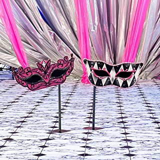 Small Pink Masquerade Mask Mardi Gras Stands Standup Photo Booth Prop Background Backdrop Party Decoration Decor Scene Setter Cardboard Cutout
