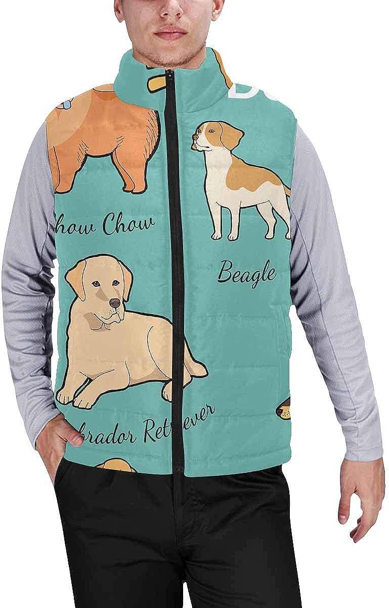 InterestPrint Men's Lightweight Keep Warm Puffer Vest for Outdoor Beautiful Flat Sea Life
