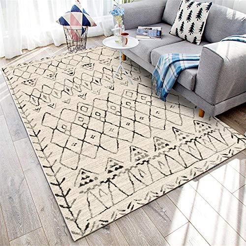 WBDYMX Moderna Antideslizante Soft Alfombra Piel Suave antiestática geometría Gris Negro alfombras...